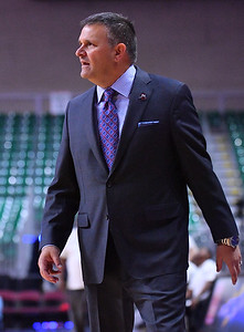 LAS VEGAS, NV - MARCH 08:  Head coach Chris Jans of the New Mexico State Aggies looks on during his team's game against the Chicago State Cougars during a quarterfinal game of the Western Athletic Conference basketball tournament at the Orleans Arena in Las Vegas, Nevada. The Aggies won 97-70.