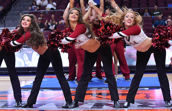 LAS VEGAS, NV - MARCH 08:  New Mexico State Aggies Sundancers perform during halftime of the team's quarterfinal game of the Western Athletic Conference basketball tournament against the Chicago State Cougars at the Orleans Arena in Las Vegas, Nevada. The Aggies won 97-70.