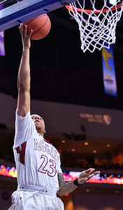 LAS VEGAS, NV - MARCH 08:  Zach Lofton #23 of the New Mexico State Aggies gets a layup against the Chicago State Cougars during a quarterfinal game of the Western Athletic Conference basketball tournament at the Orleans Arena in Las Vegas, Nevada. The Aggies won 97-70.