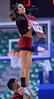 LAS VEGAS, NV - MARCH 08:  New Mexico State Aggies cheerleaders perform during the team's quarterfinal game  of the Western Athletic Conference basketball tournament against the Chicago State Cougars at the Orleans Arena in Las Vegas, Nevada. The Aggies won 97-70.