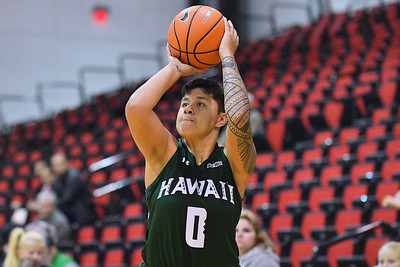 Dec 22, 2017; Las Vegas, NV, USA;  Hawai'i Rainbow Wahine guard Julissa Tago (0) shoots against the Oregon Ducks during the Duel In The Desert at the Cox Pavilion in Las Vegas, Nevada.  Photo by Sam Wasson for Hawai'i Athletics