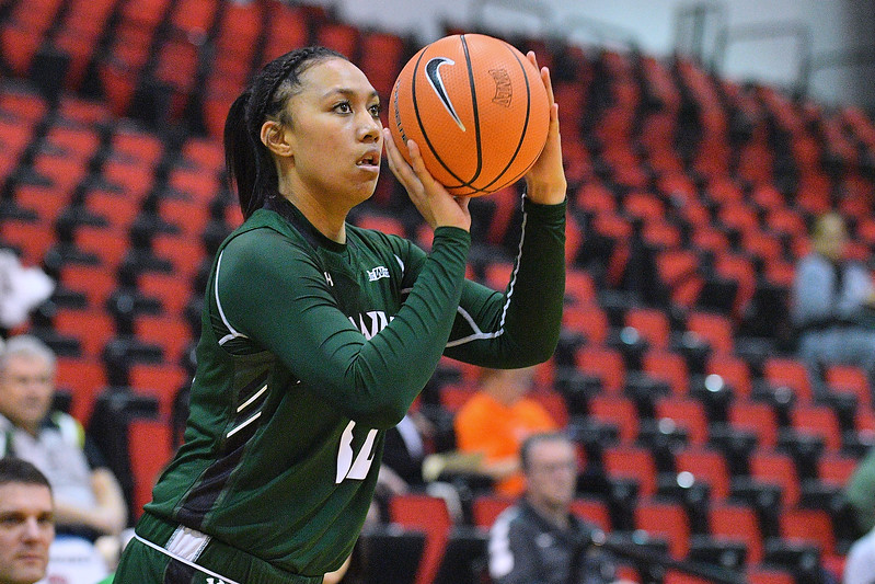 Dec 22, 2017; Las Vegas, NV, USA;  Hawai'i Rainbow Wahine forward Leah Salanoa (12) shoots against the Oregon Ducks during the Duel In The Desert at the Cox Pavilion in Las Vegas, Nevada.  Photo by Sam Wasson for Hawai'i Athletics