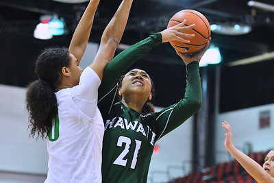 Dec 22, 2017; Las Vegas, NV, USA;  Hawai'i Rainbow Wahine forward Lahni Salanoa (21) shoots against Oregon Ducks forward Satou Sabally (0) during the Duel In The Desert at the Cox Pavilion in Las Vegas, Nevada.  Photo by Sam Wasson for Hawai'i Athletics
