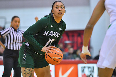 Dec 22, 2017; Las Vegas, NV, USA;  Hawai'i Rainbow Wahine forward Leah Salanoa (12) looks to pass against the Oregon Ducks during the Duel In The Desert at the Cox Pavilion in Las Vegas, Nevada.  Photo by Sam Wasson for Hawai'i Athletics