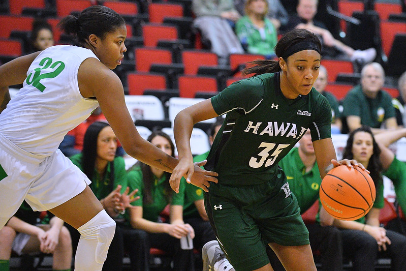 Dec 22, 2017; Las Vegas, NV, USA;  Hawai'i Rainbow Wahine forward Makenna Woodfolk (35) drives against Oregon Ducks forward Oti Gildon (32) during the Duel In The Desert at the Cox Pavilion in Las Vegas, Nevada.  Photo by Sam Wasson for Hawai'i Athletics