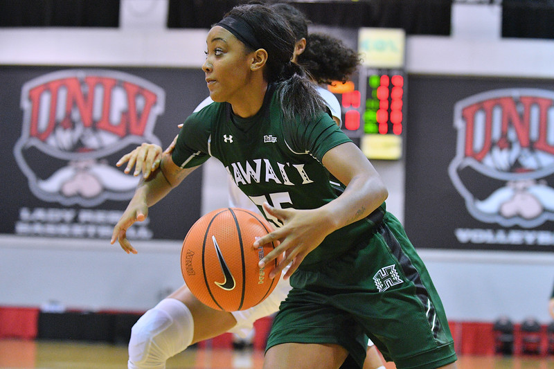 Dec 22, 2017; Las Vegas, NV, USA;  Hawai'i Rainbow Wahine forward Makenna Woodfolk (35) drives against the Oregon Ducks during the Duel In The Desert at the Cox Pavilion in Las Vegas, Nevada.  Photo by Sam Wasson for Hawai'i Athletics