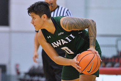 Dec 22, 2017; Las Vegas, NV, USA;  Hawai'i Rainbow Wahine guard Julissa Tago (0) looks to drive against the Oregon Ducks during the Duel In The Desert at the Cox Pavilion in Las Vegas, Nevada.  Photo by Sam Wasson for Hawai'i Athletics