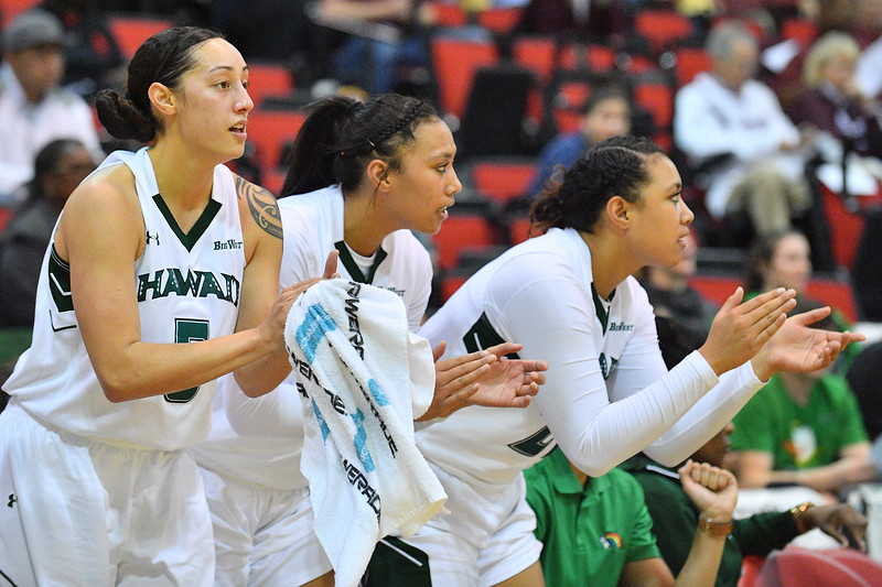 Dec 20, 2017; Las Vegas, NV, USA;  The Hawai'i Rainbow Wahine bench celebrates after a made basket against the Texas A&M Aggies during the Duel In The Desert at the Cox Pavilion in Las Vegas, Nevada.  Photo by Sam Wasson for Hawai'i Athletics