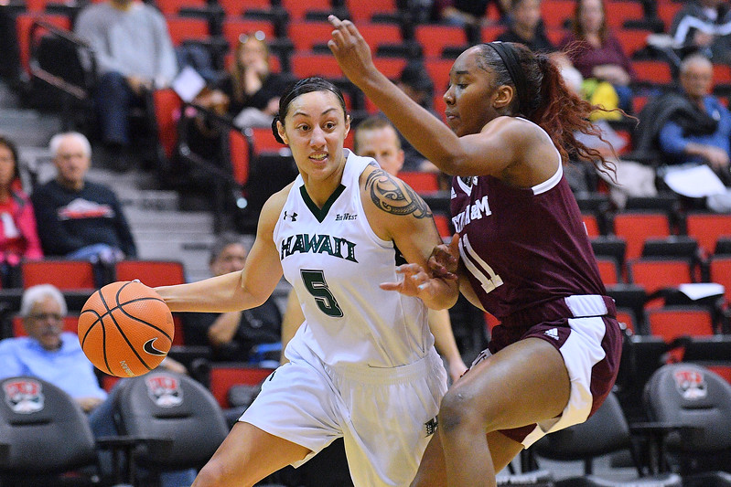 Dec 20, 2017; Las Vegas, NV, USA;  Hawai'i Rainbow Wahine guard Sarah Toeaina (5) drives against Texas A&M Aggies guard Kayla Wells (11) during the Duel In The Desert at the Cox Pavilion in Las Vegas, Nevada.  Photo by Sam Wasson for Hawai'i Athletics
