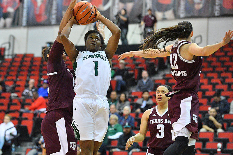 Dec 20, 2017; Las Vegas, NV, USA;  Hawai'i Rainbow Wahine guard Rachel Odumu (1) shoots against the Texas A&M Aggies during the Duel In The Desert at the Cox Pavilion in Las Vegas, Nevada.  Photo by Sam Wasson for Hawai'i Athletics