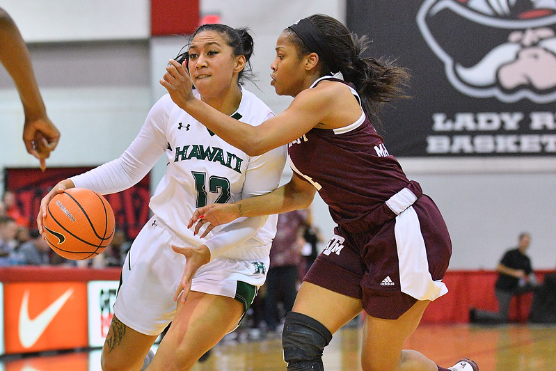 Dec 20, 2017; Las Vegas, NV, USA;  Hawai'i Rainbow Wahine forward Leah Salanoa (12) drives against Texas A&M Aggies guard Lulu McKinney (4) during the Duel In The Desert at the Cox Pavilion in Las Vegas, Nevada.  Photo by Sam Wasson for Hawai'i Athletics