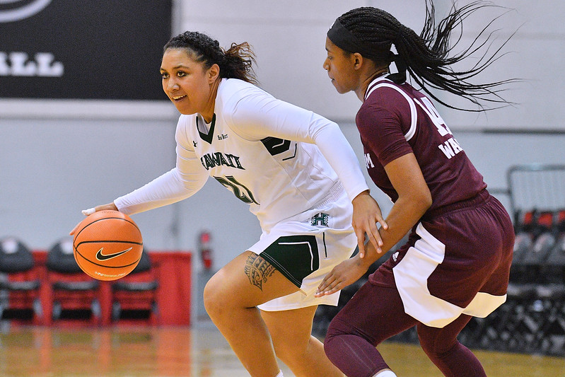 Dec 20, 2017; Las Vegas, NV, USA;  Hawai'i Rainbow Wahine forward Lahni Salanoa (21) drives against Texas A&M Aggies guard Jada Walton (14) during the Duel In The Desert at the Cox Pavilion in Las Vegas, Nevada.  Photo by Sam Wasson for Hawai'i Athletics