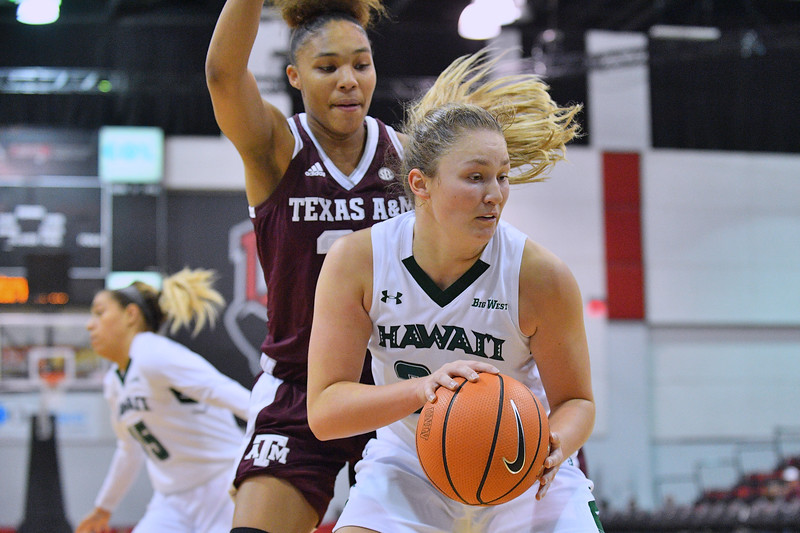 Dec 20, 2017; Las Vegas, NV, USA;  Hawai'i Rainbow Wahine forward Amy Atwell (25) looks to post up against the Texas A&M Aggies during the Duel In The Desert at the Cox Pavilion in Las Vegas, Nevada.  Photo by Sam Wasson for Hawai'i Athletics
