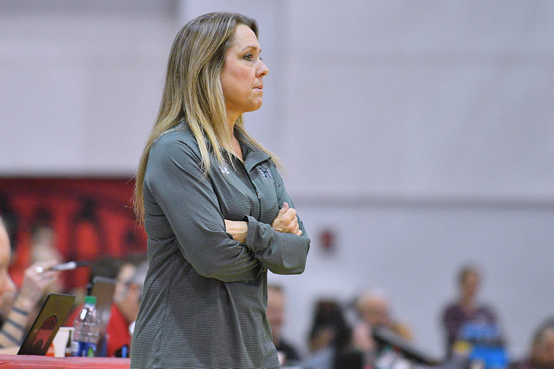 Dec 20, 2017; Las Vegas, NV, USA;  Hawaii Rainbow Wahine head coach Laura Beeman looks on during her team's game against the Texas A&M Aggies during the Duel In The Desert at the Cox Pavilion in Las Vegas, Nevada.  Photo by Sam Wasson for Hawai'i Athletics
