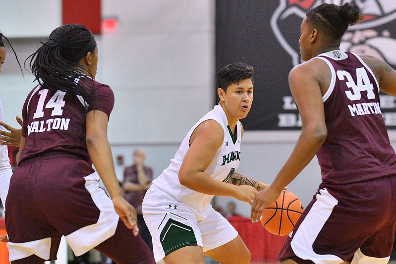 Dec 20, 2017; Las Vegas, NV, USA;  Hawai'i Rainbow Wahine guard Julissa Tago (0) dribbles against Texas A&M Aggies forward Caylinne Martin (34) and Texas A&M Aggies guard Jada Walton (14) during the Duel In The Desert at the Cox Pavilion in Las Vegas, Nevada.  Photo by Sam Wasson for Hawai'i Athletics