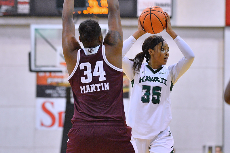 Dec 20, 2017; Las Vegas, NV, USA;  Hawai'i Rainbow Wahine forward Makenna Woodfolk (35) looks to pass against Texas A&M Aggies forward Caylinne Martin (34) during the Duel In The Desert at the Cox Pavilion in Las Vegas, Nevada.  Photo by Sam Wasson for Hawai'i Athletics