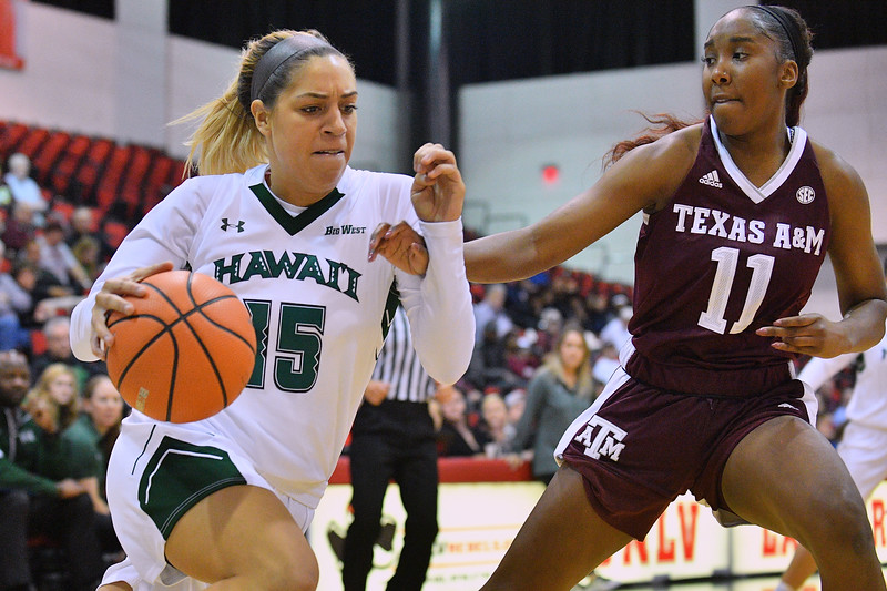 Dec 20, 2017; Las Vegas, NV, USA;  Hawai'i Rainbow Wahine guard Jadynn Alexander (15) drives against Texas A&M Aggies guard Kayla Wells (11) during the Duel In The Desert at the Cox Pavilion in Las Vegas, Nevada.  Photo by Sam Wasson for Hawai'i Athletics