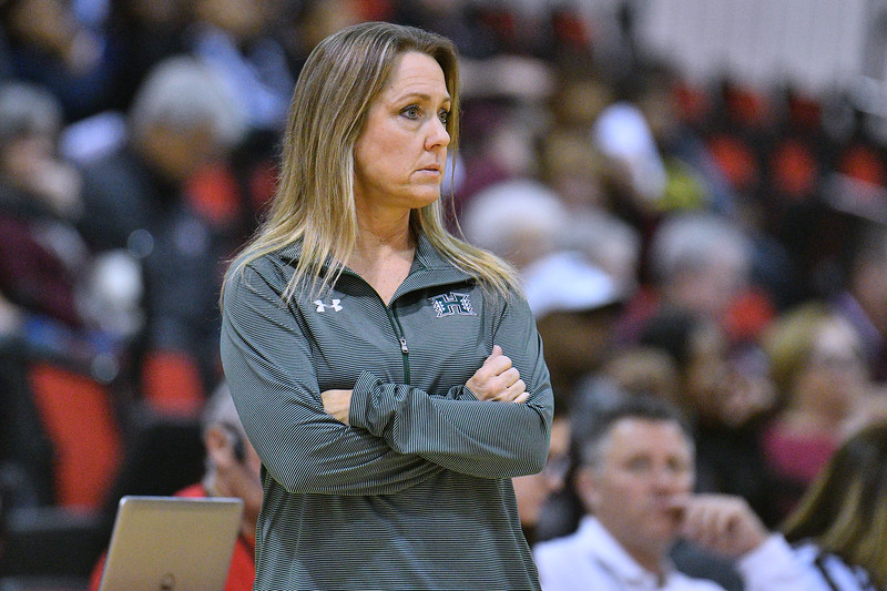 Dec 20, 2017; Las Vegas, NV, USA;  Hawai'i Rainbow Wahine head coach Laura Beeman looks on during the team's game against the Texas A&M Aggies during the Duel In The Desert at the Cox Pavilion in Las Vegas, Nevada.  Photo by Sam Wasson for Hawai'i Athletics