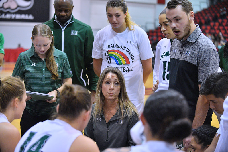 Dec 20, 2017; Las Vegas, NV, USA;  Hawai'i Rainbow Wahine head coach Laura Beeman talks to her team during a timeout of their game against the Texas A&M Aggies during the Duel In The Desert at the Cox Pavilion in Las Vegas, Nevada.  Photo by Sam Wasson for Hawai'i Athletics