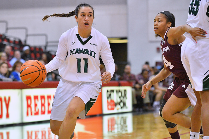 Dec 20, 2017; Las Vegas, NV, USA;  Hawai'i Rainbow Wahine guard Tia Kanoa (11) drives against the Texas A&M Aggies during the Duel In The Desert at the Cox Pavilion in Las Vegas, Nevada.  Photo by Sam Wasson for Hawai'i Athletics
