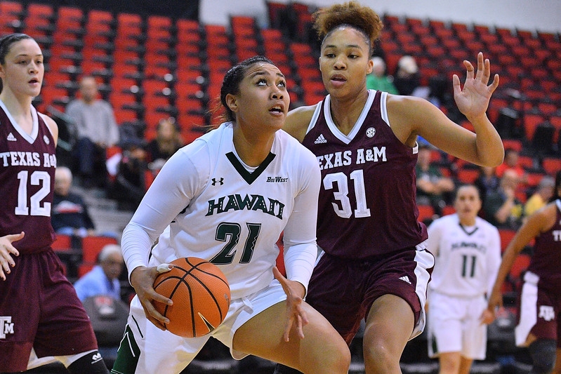 Dec 20, 2017; Las Vegas, NV, USA;  Hawai'i Rainbow Wahine forward Lahni Salanoa (21) looks to shoot against Texas A&M Aggies forward N'dea Jones (31) during the Duel In The Desert at the Cox Pavilion in Las Vegas, Nevada.  Photo by Sam Wasson for Hawai'i Athletics
