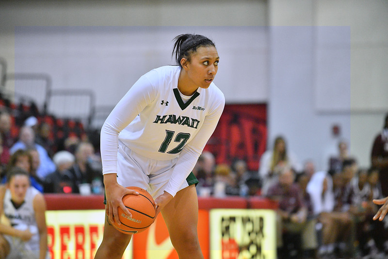 Dec 20, 2017; Las Vegas, NV, USA;  Hawai'i Rainbow Wahine forward Leah Salanoa (12) looks to pass against the Texas A&M Aggies during the Duel In The Desert at the Cox Pavilion in Las Vegas, Nevada.  Photo by Sam Wasson for Hawai'i Athletics