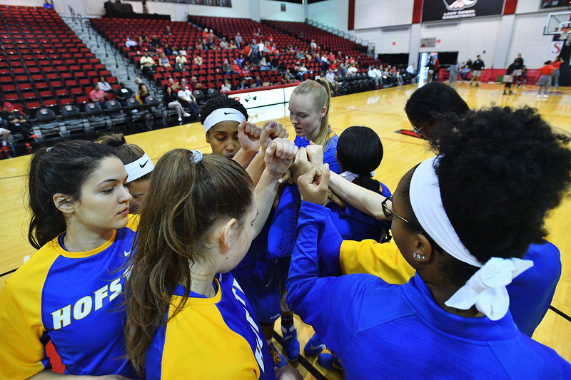 LAS VEGAS, NV - NOVEMBER 25:  The Hofstra Pride huddles before their game against the UNLV Rebels during the Lady Rebel Roundup at Cox Pavilion on November 25, 2017 in Las Vegas, Nevada.  (Photo by Sam Wasson for Hofstra)