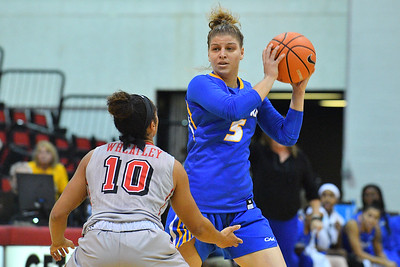LAS VEGAS, NV - NOVEMBER 25:  Petja Krupenko #5 of the Hofstra Pride looks to pass against Nikki Wheatley #10 of the UNLV Rebels during the Lady Rebel Roundup at Cox Pavilion on November 25, 2017 in Las Vegas, Nevada.  (Photo by Sam Wasson for Hofstra)