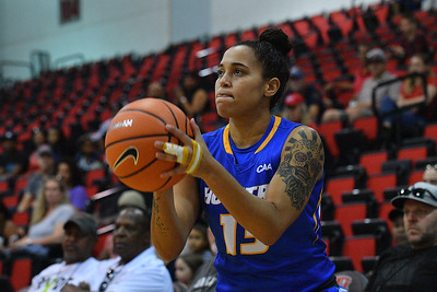 LAS VEGAS, NV - NOVEMBER 25:  Aleana Leon #13 of the Hofstra Pride shoots against the UNLV Rebels during the Lady Rebel Roundup at Cox Pavilion on November 25, 2017 in Las Vegas, Nevada.  (Photo by Sam Wasson for Hofstra)