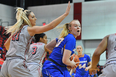 LAS VEGAS, NV - NOVEMBER 25:  Marianne Kalin #53 of the Hofstra Pride looks to pass against Katie Powell #21 of the UNLV Rebels during the Lady Rebel Roundup at Cox Pavilion on November 25, 2017 in Las Vegas, Nevada.  (Photo by Sam Wasson for Hofstra)