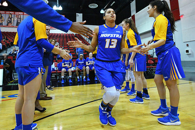 LAS VEGAS, NV - NOVEMBER 25:  Aleana Leon #13 of the Hofstra Pride is introduced before their game against the UNLV Rebels during the Lady Rebel Roundup at Cox Pavilion on November 25, 2017 in Las Vegas, Nevada.  (Photo by Sam Wasson for Hofstra)