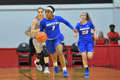 LAS VEGAS, NV - NOVEMBER 25:  E'Lexus Davis #1 of the Hofstra Pride brings the ball up the court against the UNLV Rebels during the Lady Rebel Roundup at Cox Pavilion on November 25, 2017 in Las Vegas, Nevada.  (Photo by Sam Wasson for Hofstra)