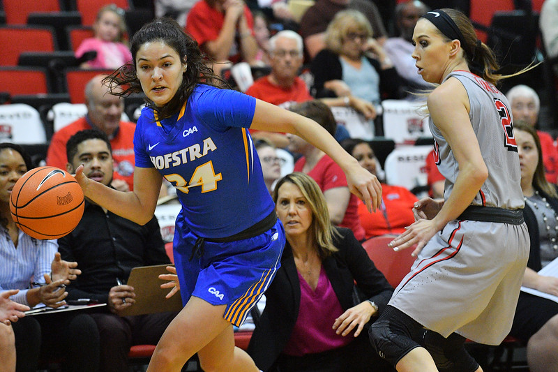 LAS VEGAS, NV - NOVEMBER 25:  Sica Cuzic #24 of the Hofstra Pride dribbles against Brooke Johnson #2 of the UNLV Rebels during the Lady Rebel Roundup at Cox Pavilion on November 25, 2017 in Las Vegas, Nevada.  (Photo by Sam Wasson for Hofstra)