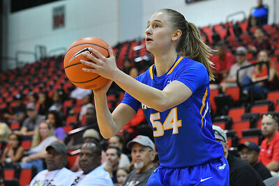 LAS VEGAS, NV - NOVEMBER 25:  Sandra Karsten #54 of the Hofstra Pride shoots against the UNLV Rebels during the Lady Rebel Roundup at Cox Pavilion on November 25, 2017 in Las Vegas, Nevada.  (Photo by Sam Wasson for Hofstra)