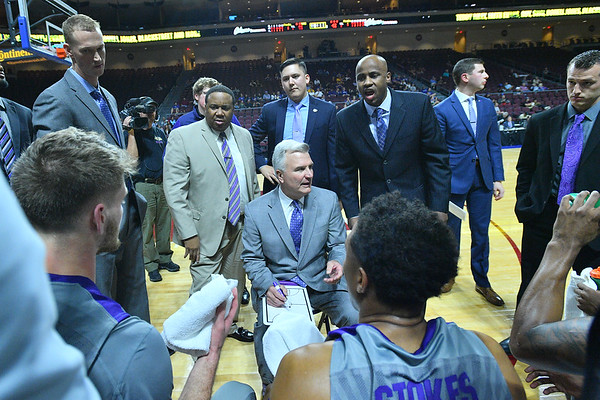 LAS VEGAS, NV - NOVEMBER 23:  Head coach Bruce Weber of the Kansas State Wildcats talks to his team during a timeout of their game against the Arizona State Sun Devils during day one of the Las Vegas Invitational at the Orleans Arena on November 23, 2017 in Las Vegas, Nevada.  (Photo by Sam Wasson for Kansas State)