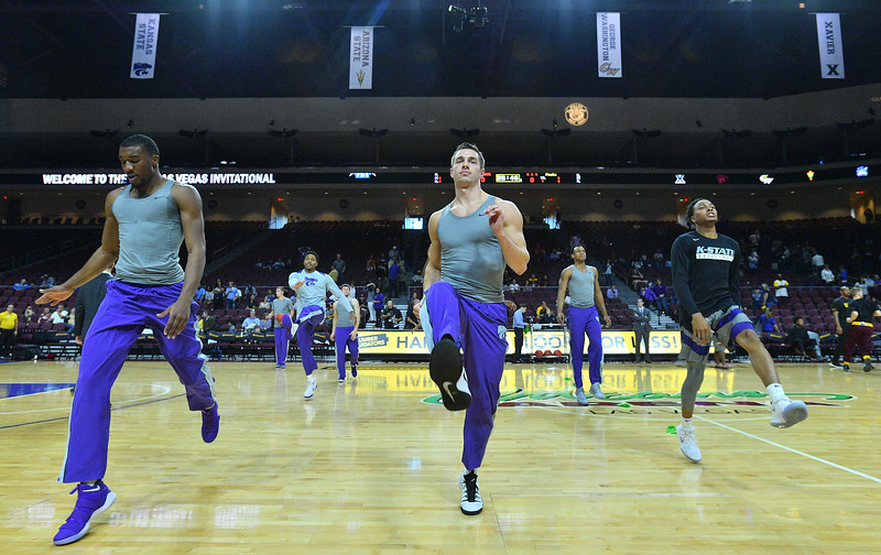 LAS VEGAS, NV - NOVEMBER 23:  The Kansas State Wildcats warm up before their game against the Arizona State Sun Devils during day one of the Las Vegas Invitational at the Orleans Arena on November 23, 2017 in Las Vegas, Nevada.  (Photo by Sam Wasson for Kansas State)