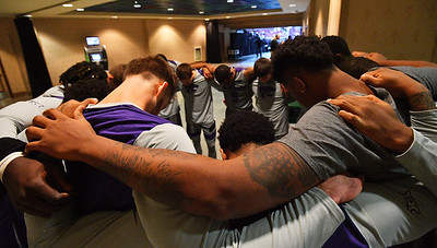 LAS VEGAS, NV - NOVEMBER 23:  The Kansas State Wildcats huddle before the start of their game against the Arizona State Sun Devils during day one of the Las Vegas Invitational at the Orleans Arena on November 23, 2017 in Las Vegas, Nevada.  (Photo by Sam Wasson for Kansas State)
