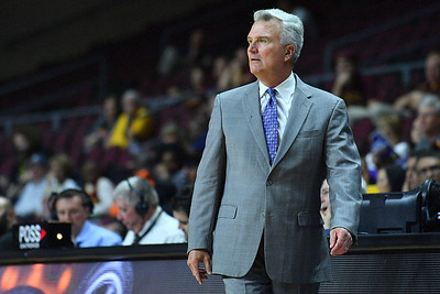 LAS VEGAS, NV - NOVEMBER 23:  Head coach Bruce Weber of the Kansas State Wildcats looks on during the team's game against the Arizona State Sun Devils during day one of the Las Vegas Invitational at the Orleans Arena on November 23, 2017 in Las Vegas, Nevada.  (Photo by Sam Wasson for Kansas State)