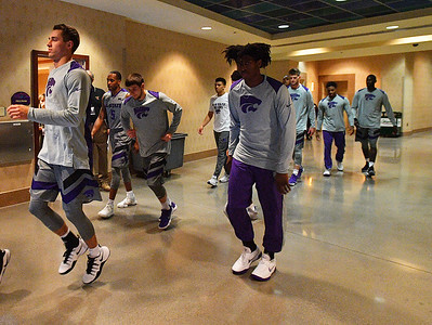 LAS VEGAS, NV - NOVEMBER 23:  The Kansas State Wildcats head out of the tunnel before their game against the Arizona State Sun Devils during day one of the Las Vegas Invitational at the Orleans Arena on November 23, 2017 in Las Vegas, Nevada.  (Photo by Sam Wasson for Kansas State)