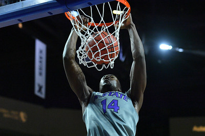 LAS VEGAS, NV - NOVEMBER 23:  Makol Mawien #14 of the Kansas State Wildcats dunks against the Arizona State Sun Devils during day one of the Las Vegas Invitational at the Orleans Arena on November 23, 2017 in Las Vegas, Nevada.  (Photo by Sam Wasson for Kansas State)