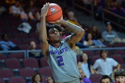 LAS VEGAS, NV - NOVEMBER 23:  Cartier Diarra #2 of the Kansas State Wildcats shoots against the Arizona State Sun Devils during day one of the Las Vegas Invitational at the Orleans Arena on November 23, 2017 in Las Vegas, Nevada.  (Photo by Sam Wasson for Kansas State)