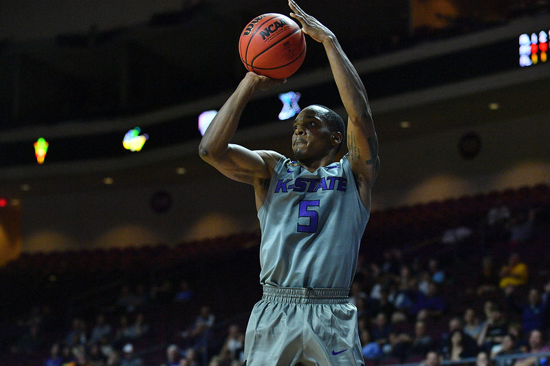 LAS VEGAS, NV - NOVEMBER 23:  Barry Brown #5 of the Kansas State Wildcats shoots against the Arizona State Sun Devils during day one of the Las Vegas Invitational at the Orleans Arena on November 23, 2017 in Las Vegas, Nevada.  (Photo by Sam Wasson for Kansas State)