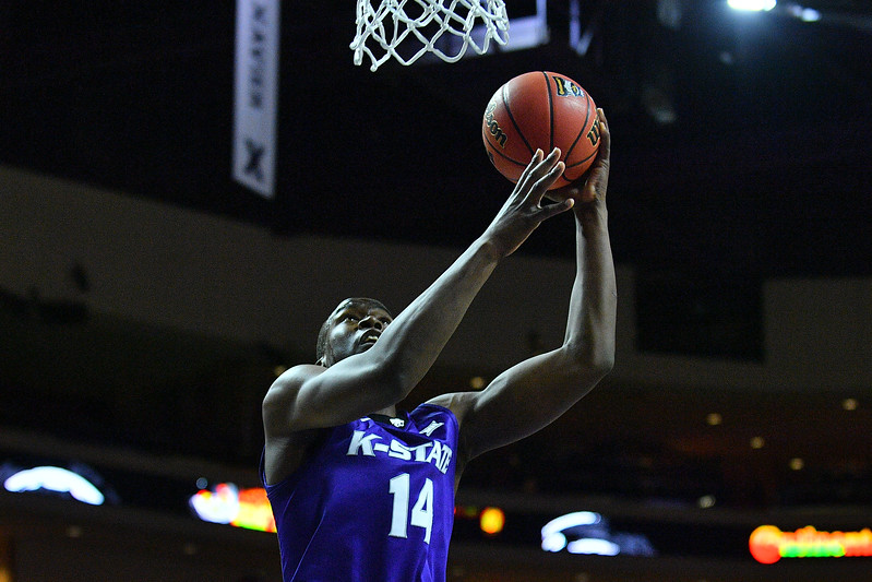 LAS VEGAS, NV - NOVEMBER 24:  Makol Mawien #14 of the Kansas State Wildcats scores on a layup against the George Washington Colonials during day two of the Las Vegas Invitational at the Orleans Arena on November 24, 2017 in Las Vegas, Nevada.  (Photo by Sam Wasson for Kansas State)