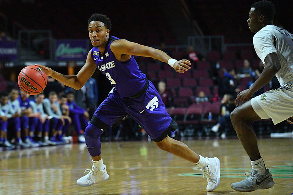 LAS VEGAS, NV - NOVEMBER 24:  Kamau Stokes #3 of the Kansas State Wildcats dribbles against the George Washington Colonials during day two of the Las Vegas Invitational at the Orleans Arena on November 24, 2017 in Las Vegas, Nevada.  (Photo by Sam Wasson for Kansas State)