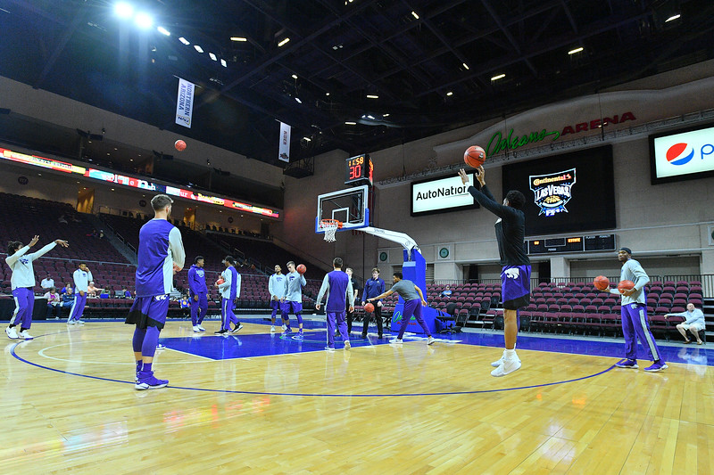 LAS VEGAS, NV - NOVEMBER 24:  The Kansas State Wildcats warm up before their game against the George Washington Colonials during day two of the Las Vegas Invitational at the Orleans Arena on November 24, 2017 in Las Vegas, Nevada.  (Photo by Sam Wasson for Kansas State)