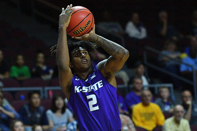 LAS VEGAS, NV - NOVEMBER 24:  Cartier Diarra #2 of the Kansas State Wildcats shoots against the George Washington Colonials during day two of the Las Vegas Invitational at the Orleans Arena on November 24, 2017 in Las Vegas, Nevada.  (Photo by Sam Wasson for Kansas State)