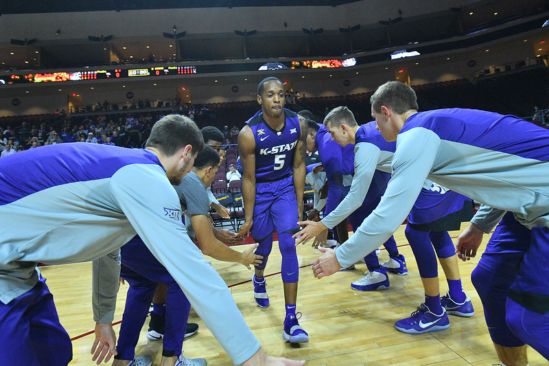 LAS VEGAS, NV - NOVEMBER 24:  Barry Brown #5 of the Kansas State Wildcats is introduced before the their game against the George Washington Colonials during day two of the Las Vegas Invitational at the Orleans Arena on November 24, 2017 in Las Vegas, Nevada.  (Photo by Sam Wasson for Kansas State)
