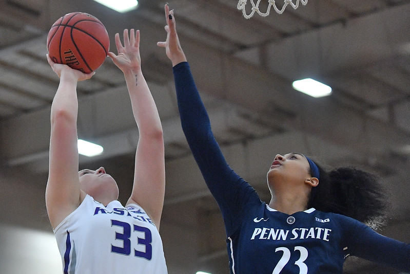 LAS VEGAS, NV - NOVEMBER 25:  Ashley Ray #33 of the Kansas State Wildcats shoots against Jaylen Williams #23 of the Penn State Lady Lions during the SouthPoint Thanksgiving Shootout at SouthPoint Casino on November 25, 2017 in Las Vegas, Nevada.  (Photo by Sam Wasson for Kansas State)