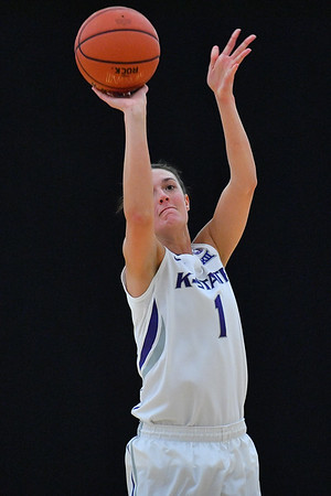 LAS VEGAS, NV - NOVEMBER 25:  Kaylee Page #1 of the Kansas State Wildcats shoots against the Penn State Lady Lions during the SouthPoint Thanksgiving Shootout at SouthPoint Casino on November 25, 2017 in Las Vegas, Nevada.  (Photo by Sam Wasson for Kansas State)