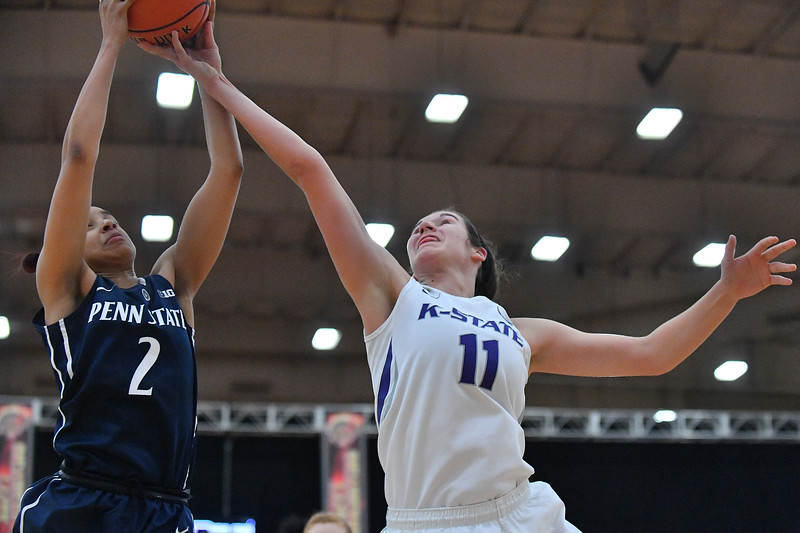 LAS VEGAS, NV - NOVEMBER 25:  Teniya Page #11 of the Penn State Lady Lions battles Amari Carter #2 of the Penn State Lady Lions for a rebound during the SouthPoint Thanksgiving Shootout at SouthPoint Casino on November 25, 2017 in Las Vegas, Nevada.  (Photo by Sam Wasson for Kansas State)